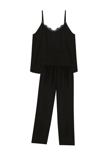 Penti Siyah Dark Aura Atlet Pantalon Pijama Set Siyah